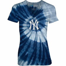 New York Yankees Juniors Navy Spiral V-Neck Tie-Dye T-Shirt