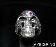 STERLING SILVER UK BIKER RING SKULL WITH UNION JACK BANDANA BLUE & RED ANY SIZE