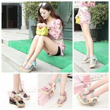 Stylish Floral Belt Bow High Heeled Thick Flip Flops Beach Nude Sandals Summer