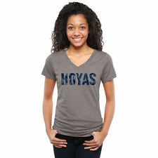 Georgetown Hoyas Women's Heather Gray Classic Wordmark Tri-Blend V-Neck T-Shirt