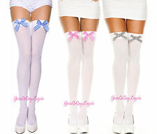 Opaque THIGH HIGH STOCKINGS with GINGHAM Satin Bow OVER-THE-KNEE COSTUME Cosplay