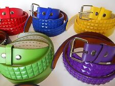 STUDDED PYRAMID LEATHER BELTS ASSORTED COLORS/ HER AND HIM
