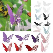 50pcs Laser Cut Butterfly Glass Place Card Wine Cup Decor Wedding Party Festive