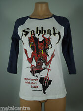 SABBAT Splattered Evil Blood White GIRLIE Raglan Tee Blue Sleeves R.I.P. Records