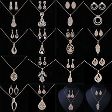 Gold Plated Sets Women Crystal Pendant Chain Necklace Earrings Jewelry Sets