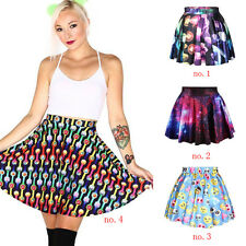 Blue Colorful Jellyfish Emotion Women Gothic Casual Lovely Punk Skater Skirt