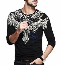 New Mens Casual T-Shirt Crewneck Long Sleeve Animal Floral Basic Tee  M L XL XXL