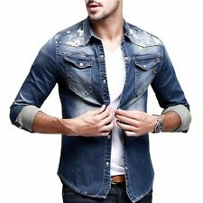 Cotton Mens Elasticity Slim Fitted Jeans Shirt Long Sleeve Shirt Blue M L XL XXL