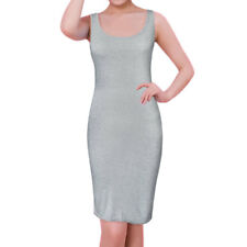 Women Scoop Neck Sleeveless Open Back Tank Dress