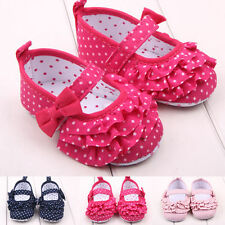 New Baby Girls Princess First Walking Crib Shoes Polka Dot Ruffles Bowknot 0-12M
