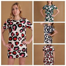 Vogue Women Round Neck Dress Summer Leopard Casual CLUB Evening Party Mini Dress