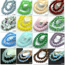 40pcs 8mm Rondelle Faceted Crystal Jade Porcelain Glass Loose Beads Multicolor