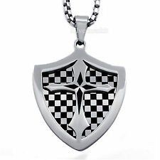 Mens Silver Black Shield Cross Badge Stainless Steel Pendant with Chain Necklace