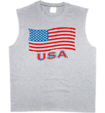 Men's sleeveless shirt USA pride American flag 4th of july muscle tee tank top