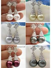 X0191 12MM round south sea shell pearl DANGLE EARRING