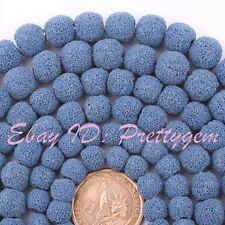 "Round Blue Lava Rock Gemstone For Jewelry Making Beads 15"" 8mm-14mm,Pick Size"