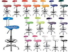 VIBRANT BLACK AND CHROME DRAFTING STOOL WITH TRACTOR SEAT ADJUSTABLE BAR STOOL
