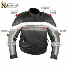 Womens Reflective Leather Cordura w/ Armor Vented Motorcycle Biker Jacket $199