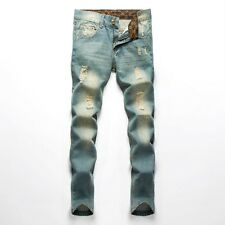 Men Stylish Skinny Ripped Hole Trouser Straight Jeans Retro Leisure Denim Pants