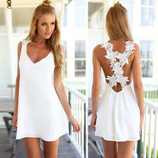 Sexy Women Girls Floral Straps Cross Backless Party Cocktail Club V-neck Dresses