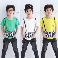 Boys Baby Toddlers Infant Children Short Sleeve T shirt Top Summer Pullover X1U6