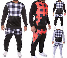 Chequered Leather Mens Jogging Suit Jacket Sports Pants Fitness Hoodie S23 S-XXL