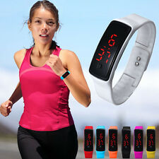 Hot Womens Mens Silicone Digital LED Bracelet Wrist Watch Sports Running Watches