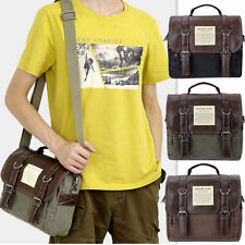 UNISEX Vintage Canvas Leather Satchel School Military Shoulder Bag Messenger Bag