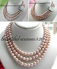 X0268 3row 10mm round freshwater pearl necklace shell clasp