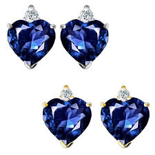 0.01 Carat Diamond Heart Sapphire Birth Gemstone Earrings 14K White/Yellow Gold