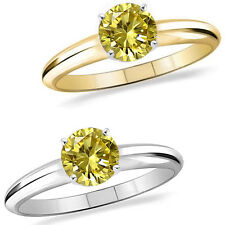 1 Carat Diamond Citrine Gem Stone Solitaire 14K White/Yellow Gold Promises Ring