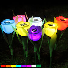 Tulip Flower LED Outdoor Yard Garden Solar Powered Light Path Way Landscape Lamp