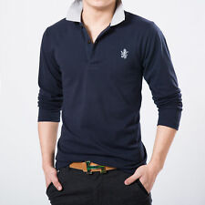 2016 Men Casual Collar Button Slim Long sleeve Fit Shirt Solid Tops Plus Size