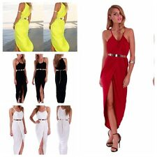 Chic Women's Sexy Slim Long Maxi Straped Party Dress Slit Evening Gown Cocktail