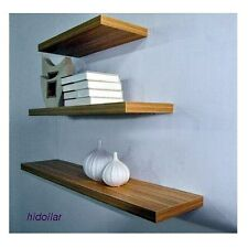 3PCS SOLID FLOATING SHELF SET WALL SHOP DISPLAY CONCEAL FITTING MAT BEECH TEAK