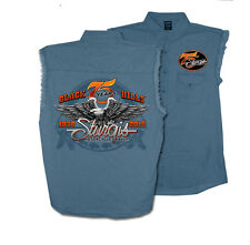 2015 Sturgis Motorcycle Rally Downwing EAGLE Blue Sleeveless Denim shirt