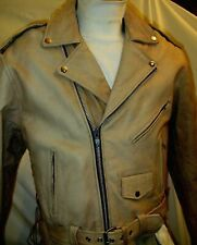 Light Brown Top Grade Cowhide Leather Classic Motorcycle Biker Jacket Sizes48-52