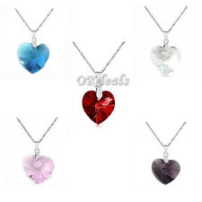 Charm Peach Silver Plated Heart Love Crystal Rhinestone Chain Pendant Necklace H