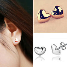 1 Pair Women Lady Heart Silver/Rose Gold Plated Charm Ear Stud Earrings CHI