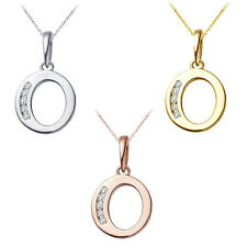 "0.25 CT Diamond Alphabet Letter ""O"" Initial Pendant Necklace 14K Yellow Gold"