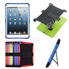 Rugged Shockproof Armor Hard Plastic Rubber Case Kick Stand Cover For Apple iPad
