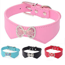 Dog Collars Lovely PU Leather Pet Puppy Collar Crystal Rhinestone Bowknot Neckle