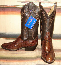 Panhandle Slim Brown Snakeskin / Leather Cowboy Boots Mens 8.5 D Womens 10 M New