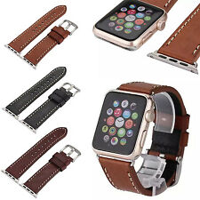 For Apple Watch iWatch 38mm/42mm Genuine Leather Retro Watch Band Strap Replace