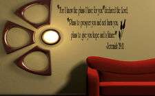 Jeremiah 29:11 For I know the plans... Wall Art Decal Bible Verse Quote Vinyl