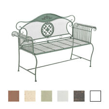 Garden Bench RIKE Iron Shabby Metal Seat Antique Bronze White Brown Furniture