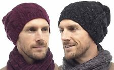 Tom Franks Mens Cable Knit Slouch Beanie Hat