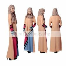 Muslim Multicolor Kaftan Dress Islamic Basic Long Sleeve Maxi Abaya Arab Clothes