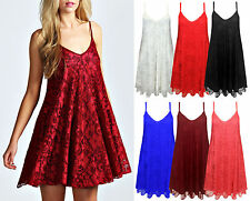Ladies Lace Cami Swing Mini Dress Womens Strappy Flare Floral Top Plus Size 8-22