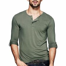 12 Colors Mens Henley T-shirt Long Sleeve Solid Slim Fitted Basic Tee M L XL XXL